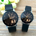 Fashion Womens Mens Lovers Students Couple Watch Leather Band Quartz Watch CA image