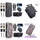 Hybrid Rugged Rubber Belt Clip Holster Case Cover for Samsung Galaxy J3 Emerge