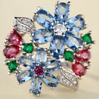 925 Silver Multi Color Topaz Gemstone Ring Wedding Jewelry Gift Woman Size 6-11