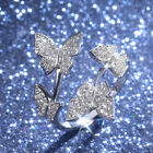 Butterfly 925 Silver,Rose Gold,Gold Women's Rings White Sapphire Size Adjustable image