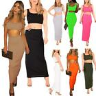 Crop Top Maxi Skirt Neon Colour Block Ribbed Sleeveless Two Piece Set