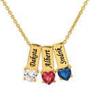 Kyпить Personalized Gold Sterling Silver Mother's Necklace w/ Heart Shape Birthstones на еВаy.соm