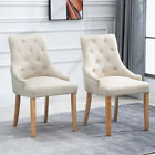 2/4/6x Accent Armchair Dining Chairs Linen Fabric Wood Upholstered BN Grey/Beige