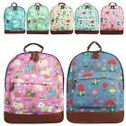 New Girls Ladies Canvas Mushroom Dogs Print School Travel Casual Backpack