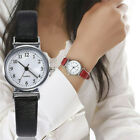 Women's Leather Strap Watches Office Lady Quartz Analog Round Dial Wrist Watch image