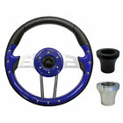 "Golf Cart Custom BLUE 13"" Steering Wheel EZGO CLUB CAR YAMAHA with Adapter"