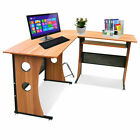 Walnut Corner Desk L-shape Style Computer PC Table Home Study Office Furniture