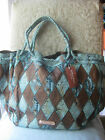 LA GIOE DI TOSCANA TURQUOISE BROWN PATCHWORK LEATHER SHOULDER TOTE BAG PURSE