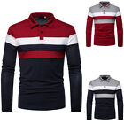 Mens Slim Fit Scoop Neck Long Sleeve Muscle Tee T-shirt Casual Tops Strpe Shirts image
