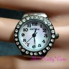 Mother Of Pearl, Red Carpet Cocktail Statement Ring Watch W/ Swarovski Crystals