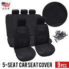 9 Part Car Seat Cover for Auto Full Set w/Steering Wheel Cover/Belt Pads/5heads