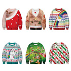 Mens Womens Unisex Casual Unicorn Pattern Ugly Christmas Sweater Sweatshirt ZG9