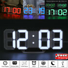 Digital 3D LED Wall Clock Alarm Clock Snooze 12/24 Hour Display Dimming Light US