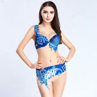 B C D DD CUP Belly Dance Costume Outfit Set Bra Belt Carnival Bollywood 2PCS