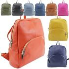 New Women's Plain Real Leather School College Simple Backpack Rucksack