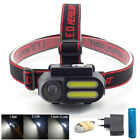 XPE COB Led Headlamp USB rechargeable Headlight 18650 Head Lamp Torch Light