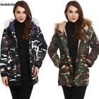 Women Hooded Long Sleeve Camouflage Zip-up Cotton Padded Jacket SDDS