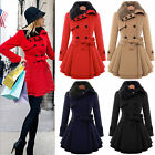 Womens Fur Collared Winter Long Peacoat Coat Trench Outwear Belted Jacket Dress