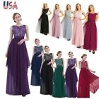 Womens Chiffon Bridesmaid Lace Long Dress Evening Party Prom Ball Gown Cocktail $26.65 USD on eBay