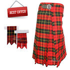 Scottish Red Wallace Men's 5 Yard Tartan Kilt With Flashes Premium Quality - WLC