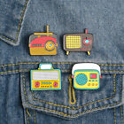 Cartoon Lovely Girl Heart Tape Recorder Phonograph Radio Enamel Brooch Pin Badge image