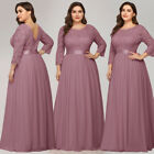 Ever-Pretty Plus Size Floral Lace Long Bridesmaid Dress A-Line Evening Maxi Gown