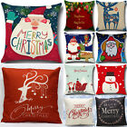 Christmas Pillow Case Xmas Santa Elk Cotton Linen Throw Cushion Cover Home Decor