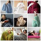 MultiColor Große Warme Knitted Strickdecke Thick Garn Wolle Bulky Chunky