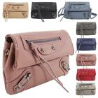 New Ladies Studs Buckles Detail Faux Leather Fashion Crossbody Clutch Bag
