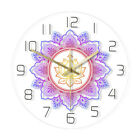 Mandala with Lotus Flower Lighting Wall Clock OM Studio Sign Psychedelic Watch