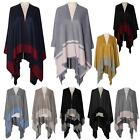New Cotton Silk Wool Two-Toned Design Women's Poncho Shawl Wrap