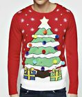 Mens Pom Pom Xmas Tree Novelty Chrostmas Jumper Size Small To XXL