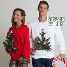 Couples Ugly Sweater SET - 3D Christmas Tree LIGHTS UP Holiday funny party
