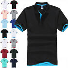 Mens Short Sleeve Polo T-Shirt Top Tee PK Plain Sports Casual Golf Sport Fashion