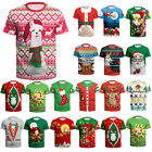 Mens Womens Ugly Christmas Xmas Santa Snowman Short Sleeve T Shirt Tops Blouse image
