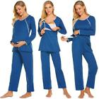 Women Casual Solid Maternity Breastfeeding Long Sleeve Pajama Set WT88 01