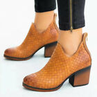 Womens Chunky Block Heels Ankle Boots Ladies Zip Up Chelsea Boots Ladies Shoes
