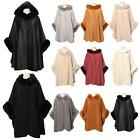 New Synthetic Fur Trimming Hooded Collared Women's Autumn Winter Poncho