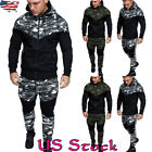 Men Tracksuit Sports Top Bottom Camo Sweat Suit Hoodie Trousers Pants 2pcs Set
