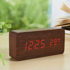 Digital LED Wood Desk Alarm Clock Snooze Voice Control Timer Thermometer Calenda