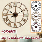 Vintage Decorative Large Wall Clock 3D DIY Metal Clock Roman Numerals Watch