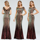 Ever-Pretty US Sequin Long Formal Evening Prom Dresses Mermaid Wedding Ball Gown