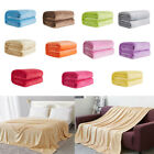Soft Solid Color Thickened Winter Warm Flannel Blanket Sofa Bedroom Throw Rug  image
