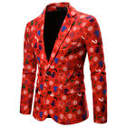 US Mens One Button Christmas Gentleman Tuxedo Suit Party Coat Xmas Blazer Jacket