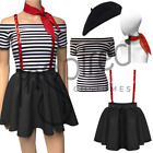 Women's Mime New Years fancy dress Skirt Sequin BracesFrench Circus
