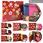 WOMENS NEW SHINY GENUINE LEATHER STITCHING PATCH DESIGN MULTICOLOUR PURSE WALLET