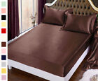 Seamless 19MM 100% Silk Fitted Sheet Set Twin Full Queen King Cal king