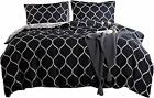 NOKOLULU Farmhouse Black Geometric Diamond Pattern Bedding Set Modern Style and