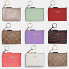 COACH Mini Skinny ID Wallet Coin Purse Signature Key Chain 9 COLORS NWT image