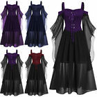 L-5XL Gothic Women Cold Shoulder Butterfly Sleeve Lace Up Halloween Witch Dress.